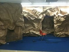 Create a cave out of paper.add in some garden plants and trees for empty tomb scene for Easter Cave Quest Vbs, Jesus Tomb, Easter Play, Daniel And The Lions, Empty Tomb, Off The Map, Vbs 2016, Vacation Bible School, Stage Set