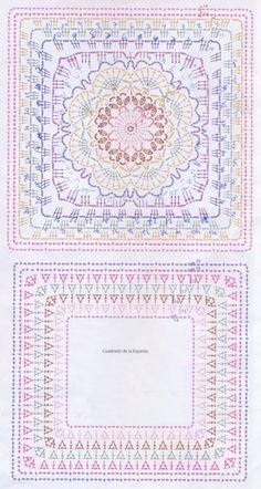 Crochet Mandala Pattern, Crochet Motifs, Crochet Blocks, Granny Square Crochet Pattern, Crochet Borders, Crochet Diagram, Crochet Stitches Patterns, Crochet Poncho, Crochet Chart