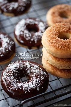 Eggless doughnut recipe - Healthy version of donuts made with whole wheat flour (atta) and are baked.