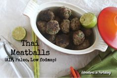 These Thai meatballs will give your next dinner a fun Asian twist without even a hint of soy grains or nightshades. Plus finger foods always make dinner feel like a party. (I store mine in the freezer) Cooking With Olive Oil, Carrot Soup, Grass Fed Beef, Low Fodmap, Fodmap Diet, Low Carb, Fresh Ginger, Sans Gluten, Asian