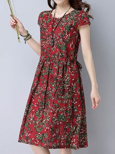 Brand: No Specification: Sleeve Length:Short Sleeve Neckline:O-neck Color:Red,Black Style:Vintage Dress Length:Knee-Length Occasion:Daily Casual Material:Cotton Season:Summer Package included: 1*Dress