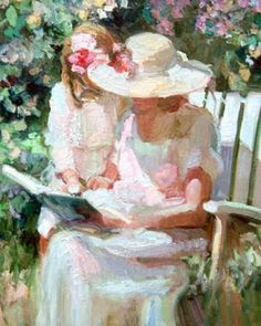 Mother And I by Sally Rosenbaum - Mother And I Painting - Mother And I Fine Art Prints and Posters for Sale Reading Art, Girl Reading, Children Reading, Reading Books, Baie De San Francisco, People Reading, Book Girl, Limited Edition Prints, Beautiful Paintings