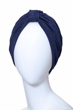 Dark blue turban in suedine. Very stretch one size fits all.