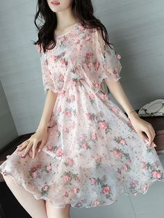 Pink Floral Girly Appliqued Half Sleeve Crew Neck Dress