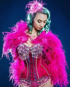 Such a gorgeous pink burlesque costume