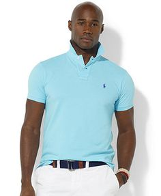 Polo Ralph Lauren Big and Tall Shirt, Custom-Fit Short-Sleeved Cotton Mesh  Polo Shirt - Polos - Men - Macy\u0027s