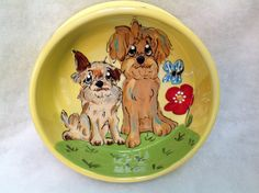 Hand Painted Ceramic Dog Bowl / Dog Pottery / Whimsical Dogs / Debby Carman/ Faux Paw Productions by FauxPawProductions on Etsy