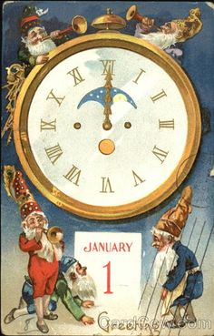 Vintage Happy New Year Postcard: elves with trumpets and old clock. Vintage Happy New Year, Happy New Year 2015, Happy New Year Cards, New Year Greeting Cards, New Year Greetings, Vintage Greeting Cards, Vintage Christmas Cards, Vintage Holiday, Merry Christmas