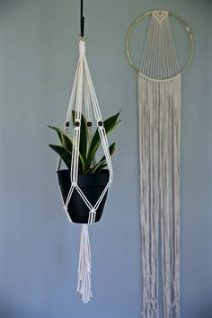 "Macrame Plant Hanger - 30"" Knotted Indoor Hanging Planter - Natural White Cotton Rope w/ Wood Beads - MADE TO ORDER"