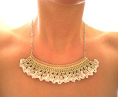 lace snip necklace by Even Howard crochet, handmade and one of a kind in cream and white fine crochet lace. by nadene on Etsy https://www.etsy.com/listing/56055449/lace-snip-necklace-by-even-howard