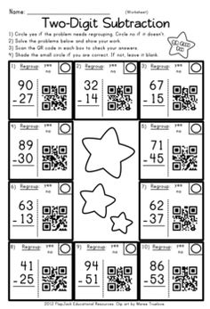 QR codes are all the rage, and they will have your students wanting to do subtraction problems! This title contains 12 self-checking center/task QR code cards, one recording sheet, and one 10-problem worksheet. Problems are with and without regrouping.
