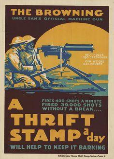 World War I Propaganda Posters — (probable pochoir technique) tritonal print of kneeling men with machine gun