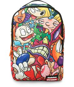 Rugrats, Hey Arnold, Ren & Stimpy, Rocko's Modern Life, CatDog, and Aaahh!!! Real Monsters all bless this beautiful nostalgic piece of art brought to you by Sprayground and the Nickelodeon 90s Pile Up backpack.