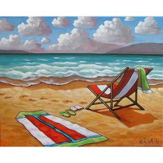 Windy Ocean Waves Summer Beach Chair Sun Sand seascape  Cathy Horvath Buchanan