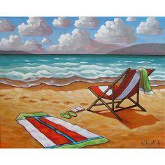 Windy Ocean Waves Summer Beach Chair Sun Sand seascape Cathy Horvath Buchanan
