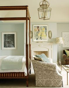 Designed by Healing Barsanti this master bedroom features a custom loveseat as well as a Louis XVI canopy bed from Niermann Weeks.