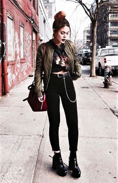 Bomber jacket with vintage shirt, black pants & boots by luanna90