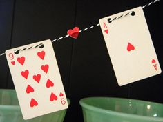 Valentine vintage playing card heart banner w baker's twine. Casino Party Decorations, Casino Party Foods, Casino Night Party, Casino Theme Parties, Party Centerpieces, Party Themes, Party Ideas, Vegas Party, Diy Playing Cards