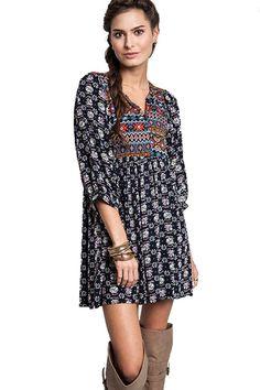 Umgee Women's Bohemian Tunic or Dress (Small, Navy)