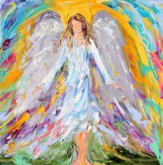 Original oil ANGEL Spirit PALETTE KNiFE painting modern impressionism impasto fine art by Karen Tarlton