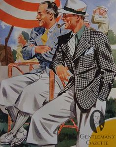 We love everything about this pair - the wide lapels, silk hose, dotted pocket square plus striped necktie, full legged plus fours, and air of suave relaxation! Cited from: Summer Accessories & Styles 1937 — Gentleman's Gazette http://www.gentlemansgazette.com/summer-accessories-1937-mercedes-500-k/#ixzz2PcWpkYzk