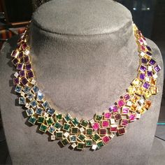 A rainbow of beautiful gems from @grimajewellery - what a perfect summer necklace! #AndrewGrima #gems #colour #rainbowgems #summer #necklace #jewellerydesigner #London #MPL2015 #masterpiece2015