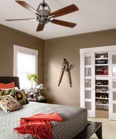 sliding pocket doors separate closet from bedroom - no need to worry about door swings