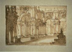 Amazing Giovanni Battista Piranesi Italian Palatial Courtyard with a Fountain
