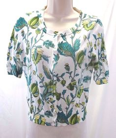 ANN TAYLOR LOFT White Green Yellow Floral Short Sleeve Cardigan Sweater Small #AnnTaylorLOFT #Cardigan