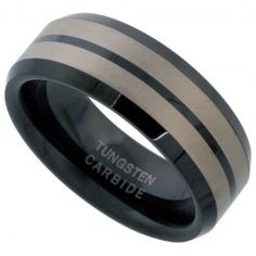 8mm Black Tungsten Wedding Band Etched Double Stripes Beveled Edges Comfort fit, sizes 7 to 14