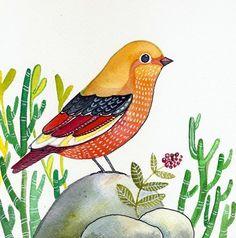 Nature / Bird Art /Original Organic Watercolor / by sublimecolors, $34.99