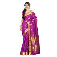 Varkala Magenta Kanchipuram Silk Lotus Paisley with Peacock Border Saree Silk Sarees on Shimply.com