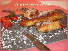 Recette Petits roulés de pain perdu aux fraises et nutella.