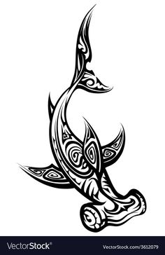 Black and White Hammerhead Shark Polynesian Tattoo Isolated on White Background - stock vector Small Shark Tattoo, Tribal Shark Tattoos, Hawaiian Tribal Tattoos, Simple Tribal Tattoos, Polynesian Tattoo Designs, Polynesian Art, Maori Tattoo Designs, Sea Life Tattoos, Body Art Tattoos