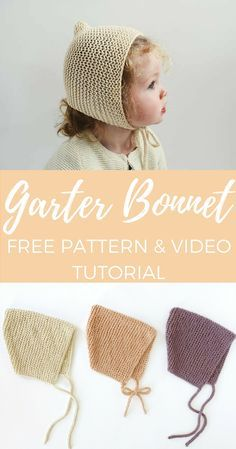 Click for this adorable free bonnet knitting pattern and video tutorial! It's written for newborn through toddler sizes.