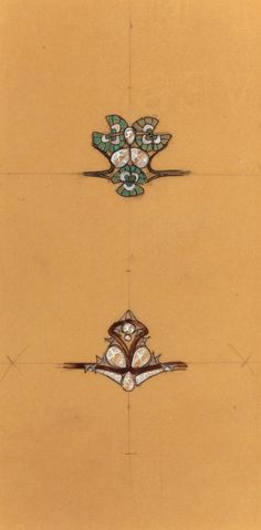 R. LALIQUE ORIGINAL JEWELRY DESIGN DRAWING: TWO RINGS. Circa,1895, Ink and watercolor on B.F.K. Rives parchment.