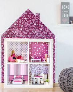 """Barbie Möbel selber bauen 70iger Jahre Sessel - Puppenhaus """"Kleine Puppen-Villa"""" pink. www.limmaland.com"""