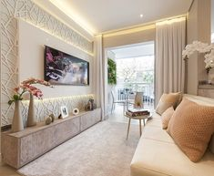 Living Room Colors, Cozy Living Rooms, Apartment Living, Living Room Designs, Living Room Decor, Apartment Plants, Bedroom Apartment, White Rooms, White Bedroom