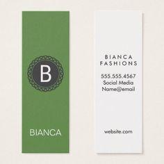 Ornate Radial / Monogram (Green) Mini Business Card - monogram gifts unique design style monogrammed diy cyo customize