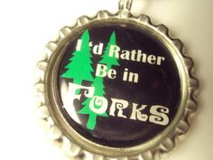 Twlight Inspired I'd Rather Be In Forks Bottlecap Black Nylon Cord Rainy Day Fund, Lasting Love, Twilight Saga, Forks, Fangirl, Life Quotes, Nerd, Party Ideas, Decorations