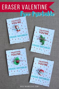 Cute No Candy Valentine For Kids | Free Printable Valentines Day Card | Fun Valentines for your child to hand out in their school classroom - download at whatmomslove.com