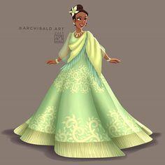 Disney Princesses x 🇵🇭: Tiana . Tiana in another version of a Baro't Saya dress with her signature green color. Disney Princess Fashion, Disney Princess Art, Punk Princess, Disney Fan Art, Disney Style, Disney Princesses, Disney Villains, Tangled Princess, Princess Merida