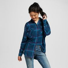 Women's Oversized Flannel Tunic Blue Xxl - Mossimo Supply Co. (Juniors')