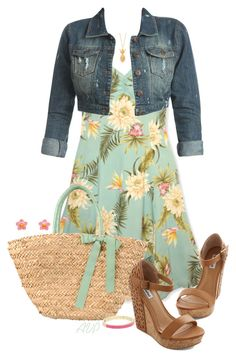 """Summer Dress with a Denim Jacket - Hawaiian Sundress"" by amy-phelps ❤ liked on Polyvore featuring Wet Seal, Nice Things by Paloma S and Kate Spade"