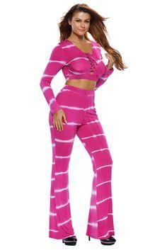 Ensemble Pantalon et Haut Femme Rosy Tie Dye Imprimer Manches Longues 73909ccb2c0