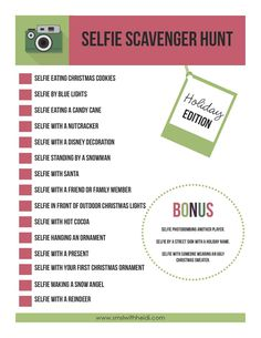 holiday edition of selfie scavenger hunt more christmas party games - Christmas Office Party Games