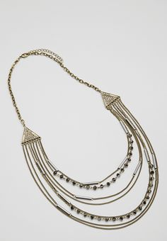 layered chain necklace with shimmering beads - #maurices