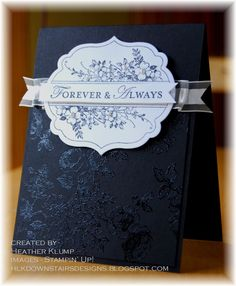 #StampinUp Apothecary Art. I like the clear embossing on the dark background and monochrome colour scheme.