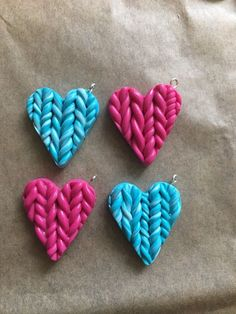4 Handmade in Fimo Knitted Heart Charms - Pick Any Colour  | eBay