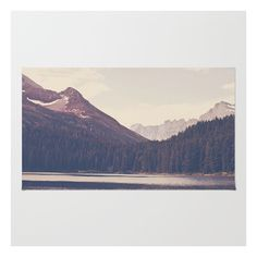 Society6 Morning Mountain Lake Rug ($28) ❤ liked on Polyvore featuring home, rugs, backgrounds, machine washable rugs, polyester rugs, chevron rugs, non skid rugs and woven rug